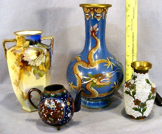 6A: Lot including two cloisonne vases and teapot (no li