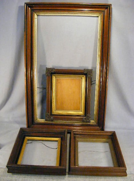 10A: Lot of four Victorian walnut frames, largest measu