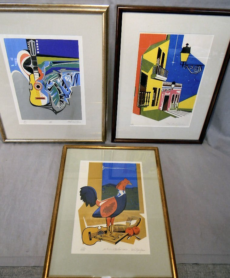 20A: Lot of three silk screen prints by Raul Zayas Lope