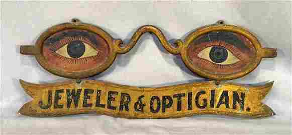 104C: Antique folk art eyeglass painted & gilded optici