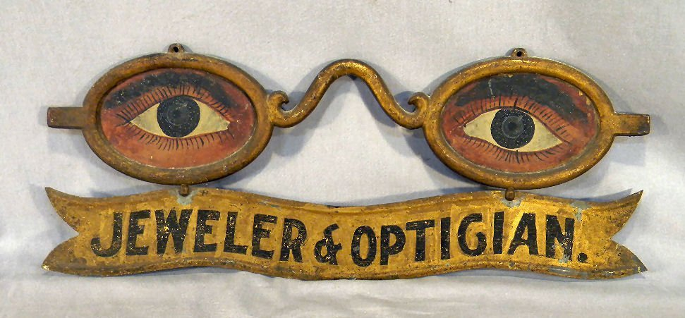 104C: Antique folk art eyeglass painted & gilded optici