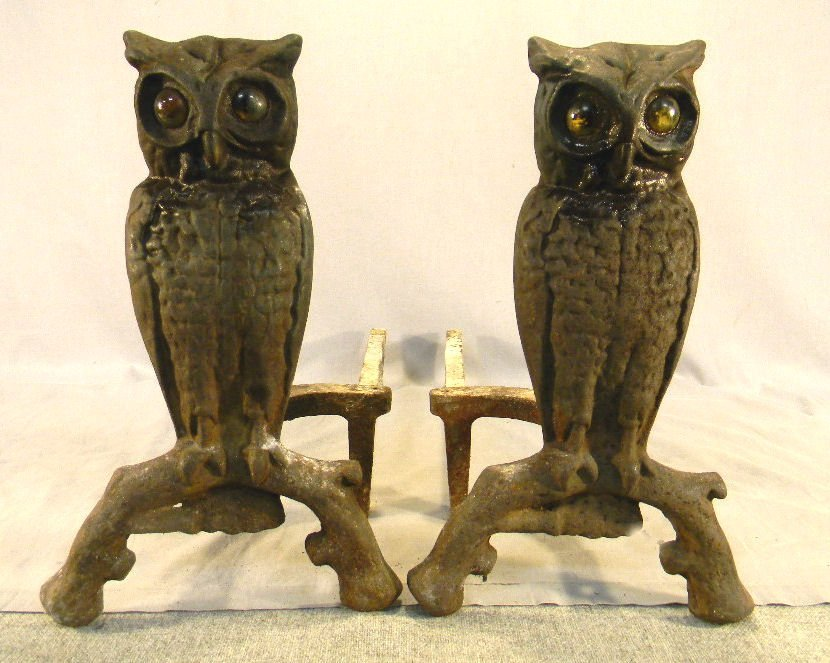 118A: Cast iron owl andirons, glass eyes