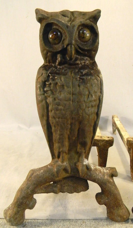 118A: Cast iron owl andirons, glass eyes - 2