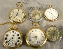 67B: Lot of six pocket watches including, Hamilton 21 j