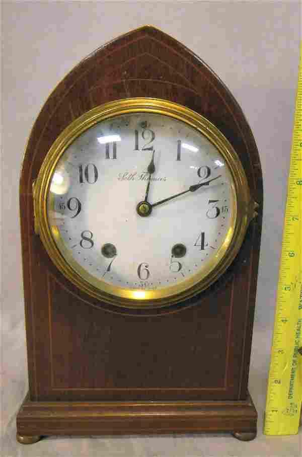 367A: Seth Thomas mantle clock with inlaid mahogany cas