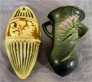 372L Two Roseville pottery wall pockets Donatello patt