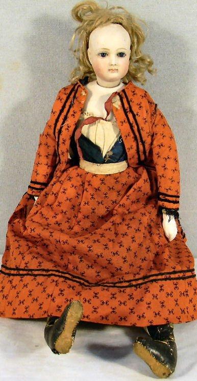 90R: French fashion doll, bisque shoulder head, swivel