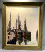 Oil painting on canvas signed Otis Cook of harbor