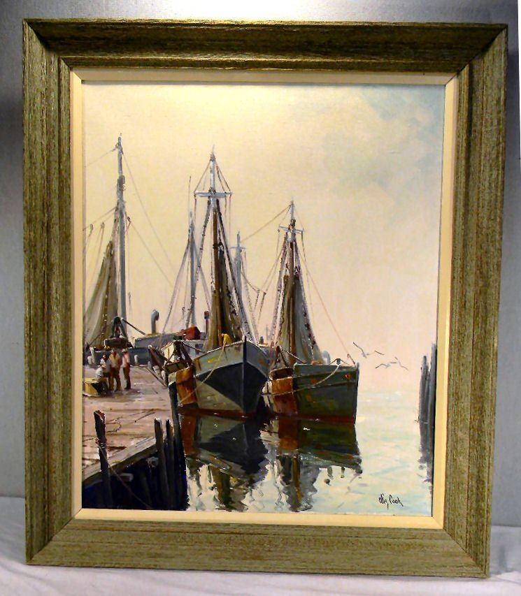 134R: Oil painting on canvas signed Otis Cook of harbor
