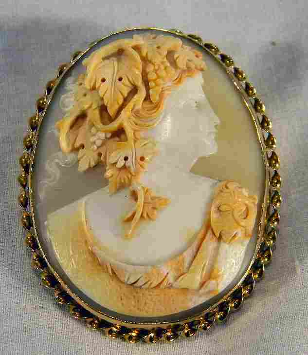 209R: 14K gold shell cameo brooch/pendant carved in hig