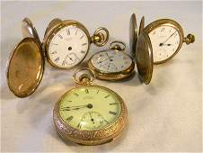 221R Lot of four gold filled pocket watches largest 2