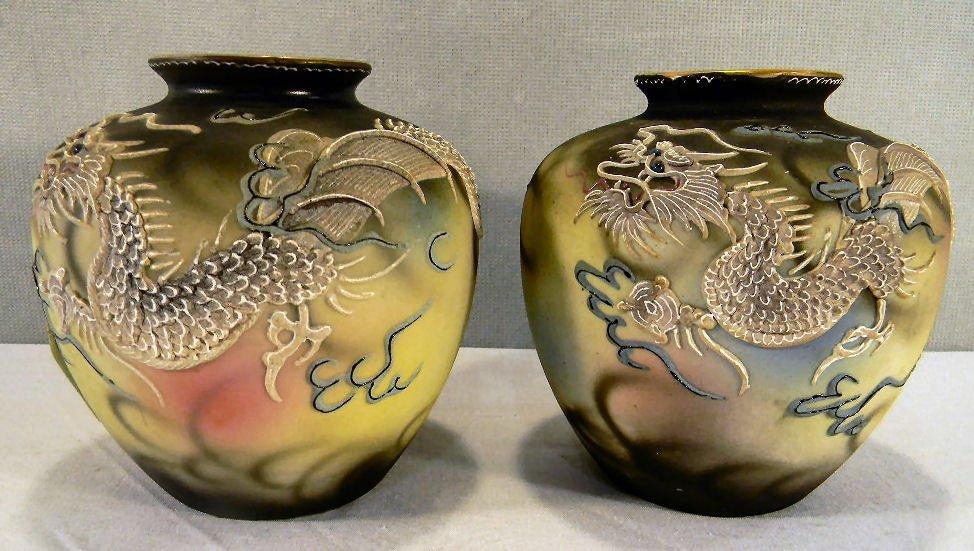 """Pair of Japanese moriaga dragon ware vases, 5.5"""" high,"""