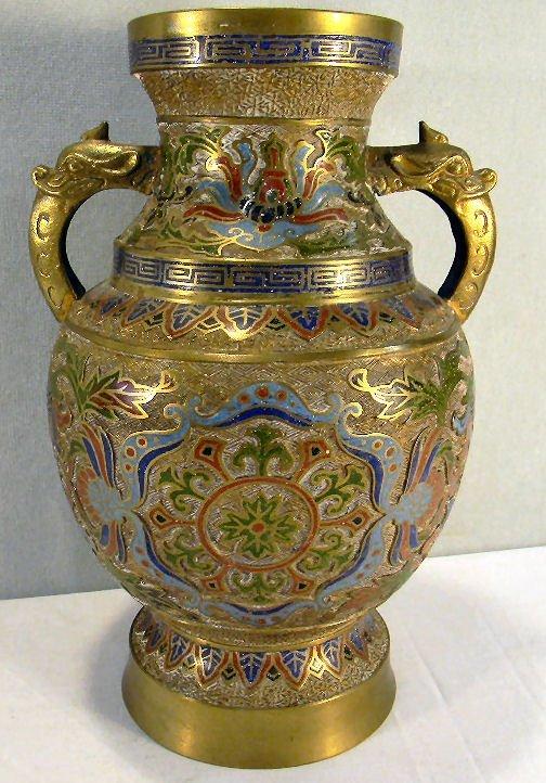 "Large Japanese champlevé vase on brass, 14.5"" high, sta"