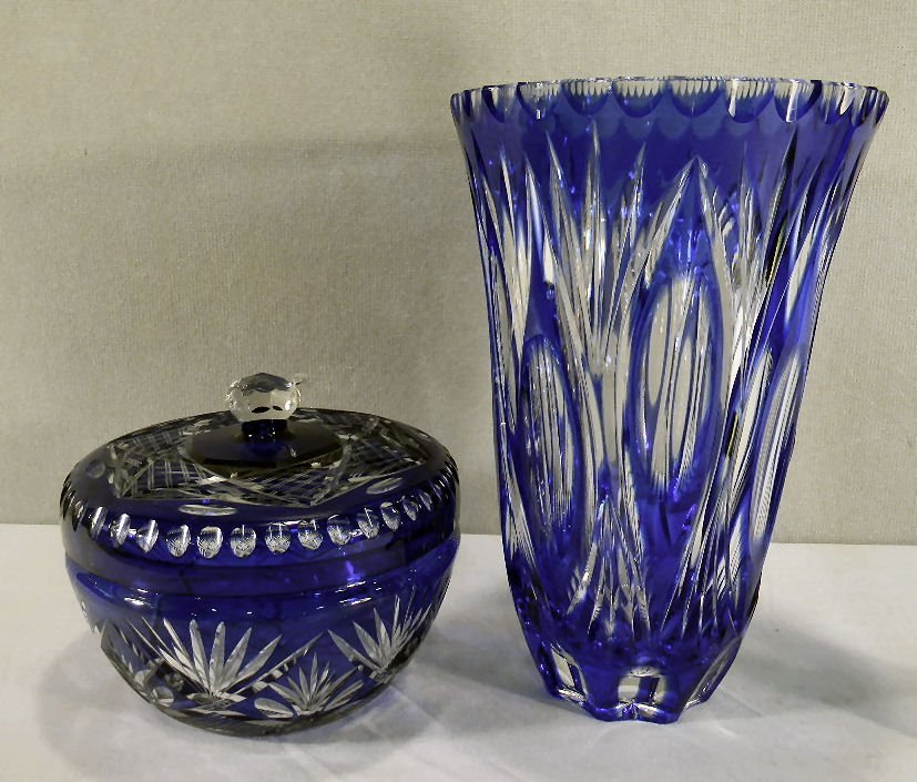 "Blue cut to clear glass covered bowl, 6.5"" dia. Togethe"