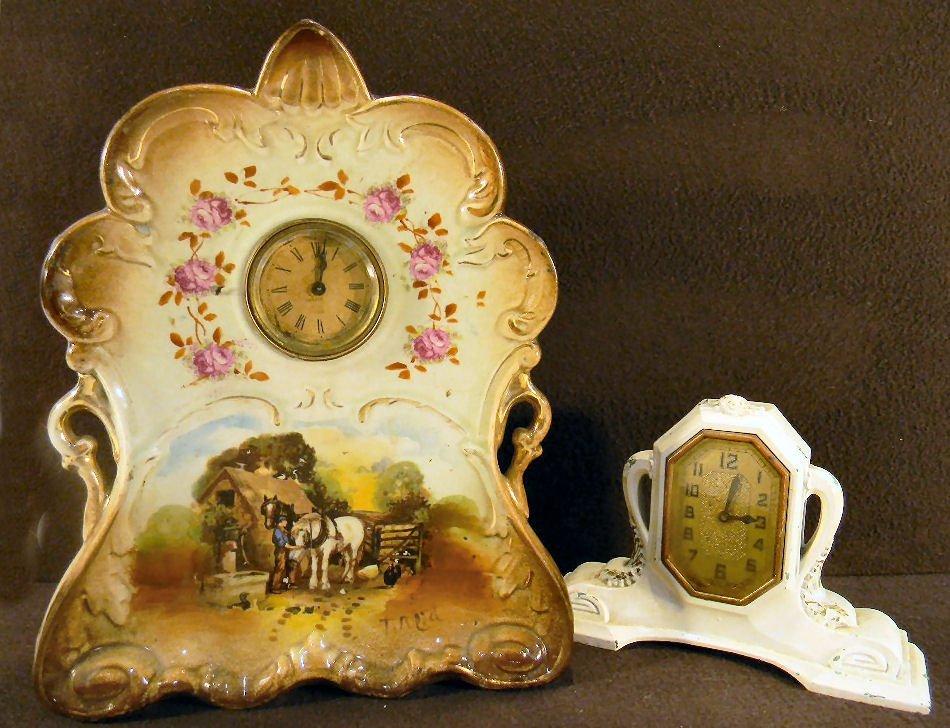 "German china case clock, works not running, 12"" high, n"