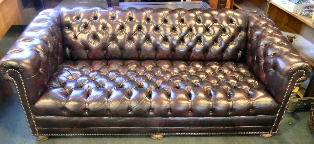 "Tufted cordovan leather sofa, 75"" long, 33"" deep and 29"