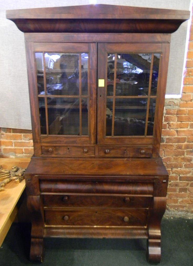 "Empire secretary, mahogany veneer, two pieces, 78"" high"