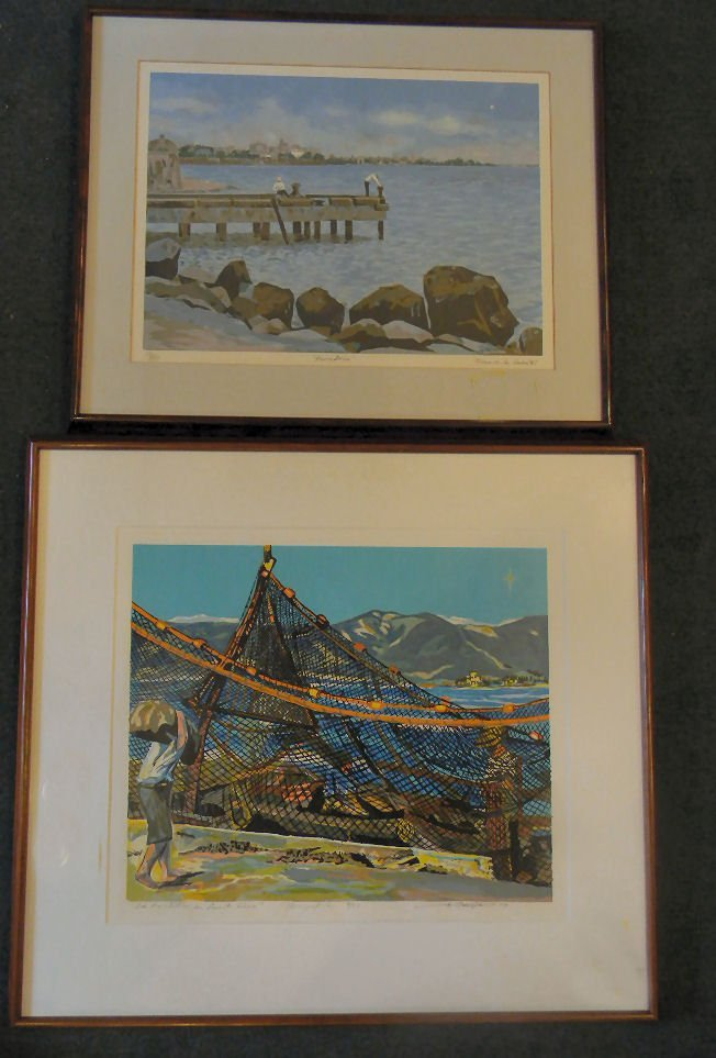 Two signed serigraphs, dock scene by Torres de la Haba