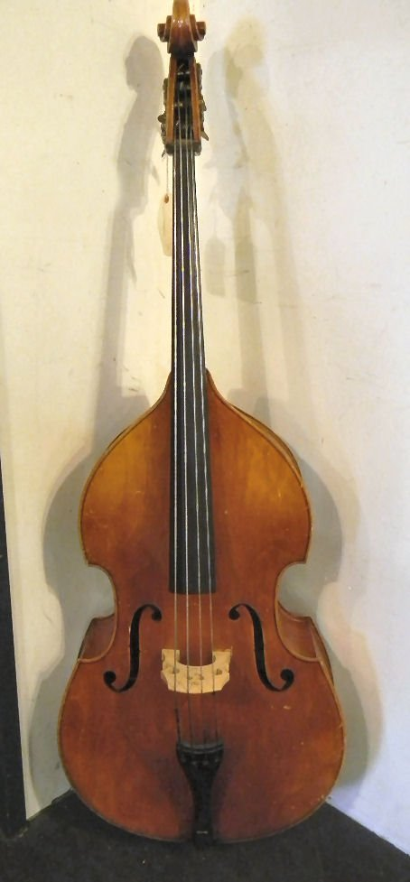 "Estate bass fiddle, 70"" high overall, 24"" wide, no labe"