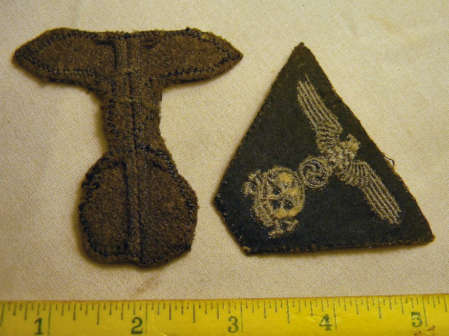 Lot including WWII Nazi death head patches, enameled pi - 7