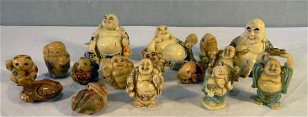 Lot of 16 Chinese  Japanese cast resin figures and net