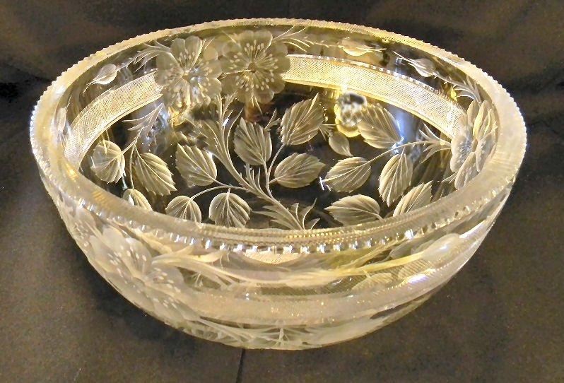 "Signed Tuthill intaglio cut glass bowl, 9"" diameter, 4"""