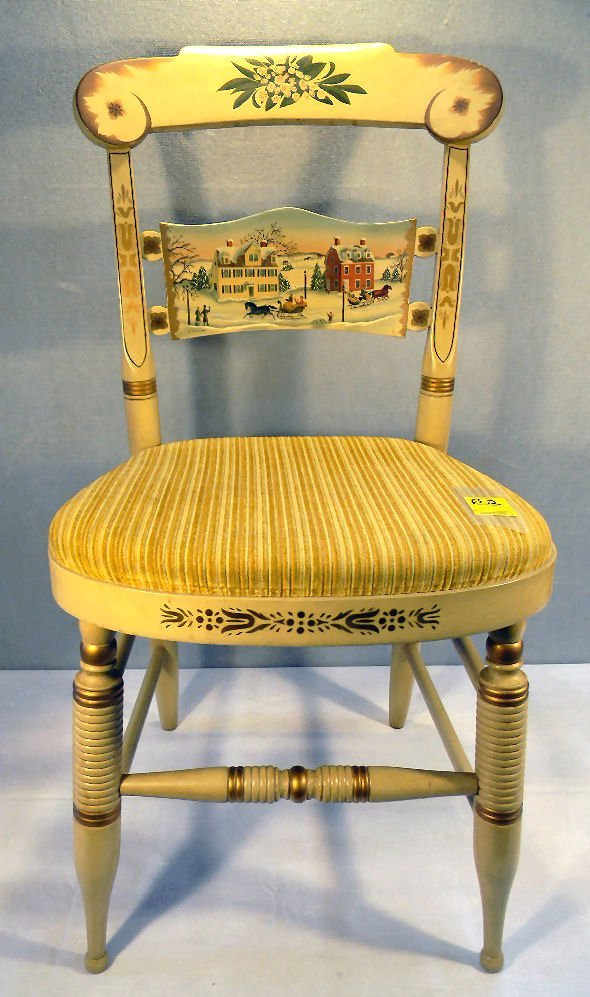 Painted Hitchcock side chair picturing the Butler - McC