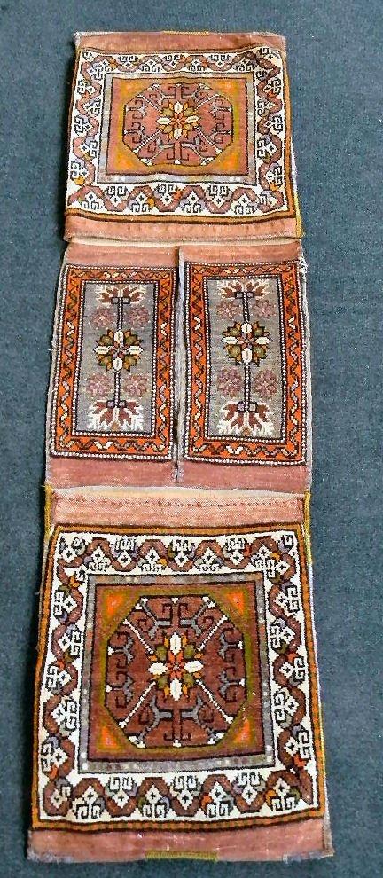 """Oriental rug saddle bag, 18.5"""" X 66.5"""", some fraying at"""