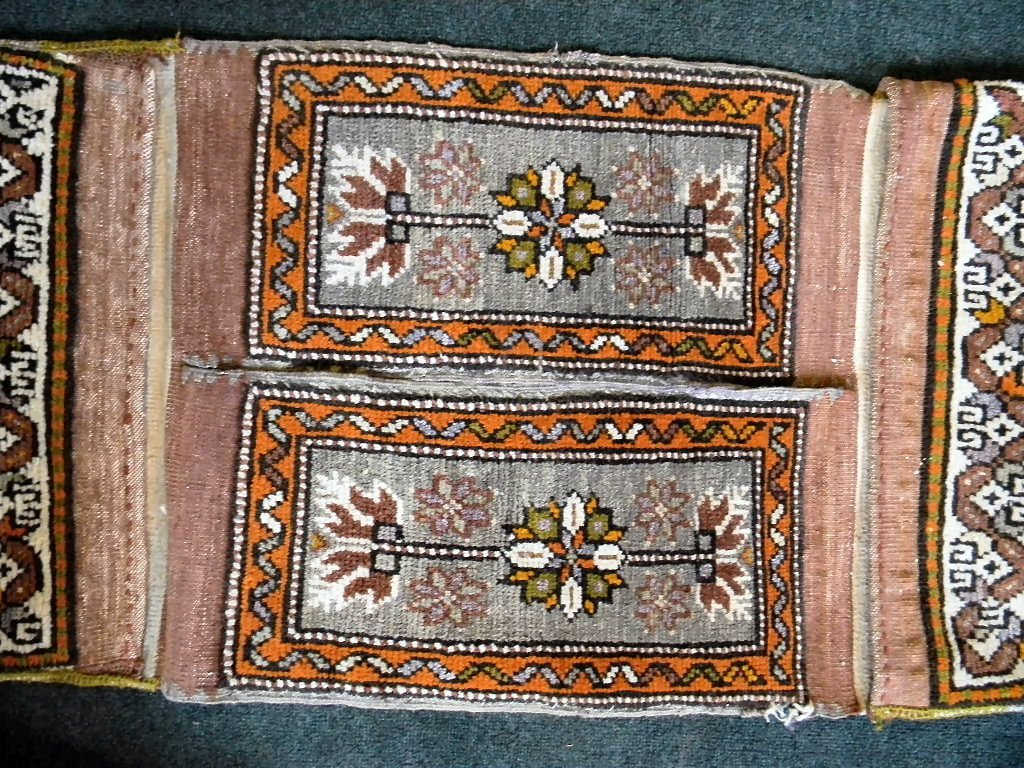 "Oriental rug saddle bag, 18.5"" X 66.5"", some fraying at - 3"