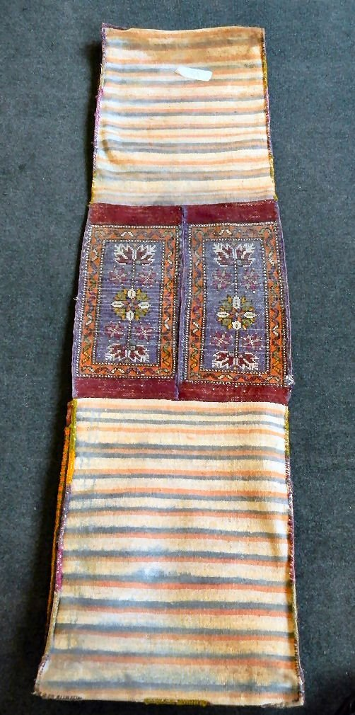 "Oriental rug saddle bag, 18.5"" X 66.5"", some fraying at - 6"