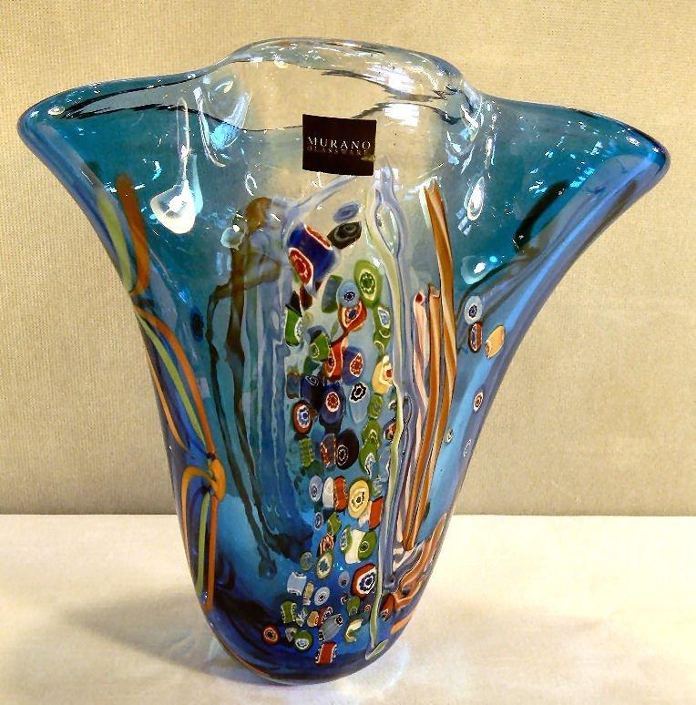 Murano glass vase with cross cut cane decoration, scrat