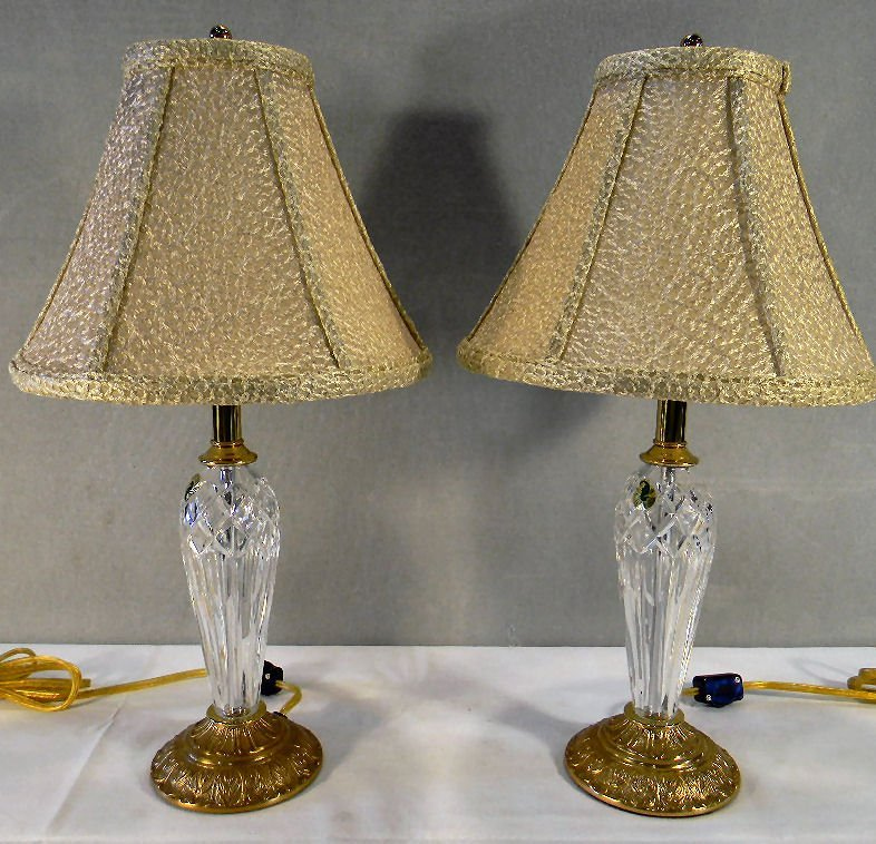 Pair of Waterford boudoir lamps, with Waterford shades,