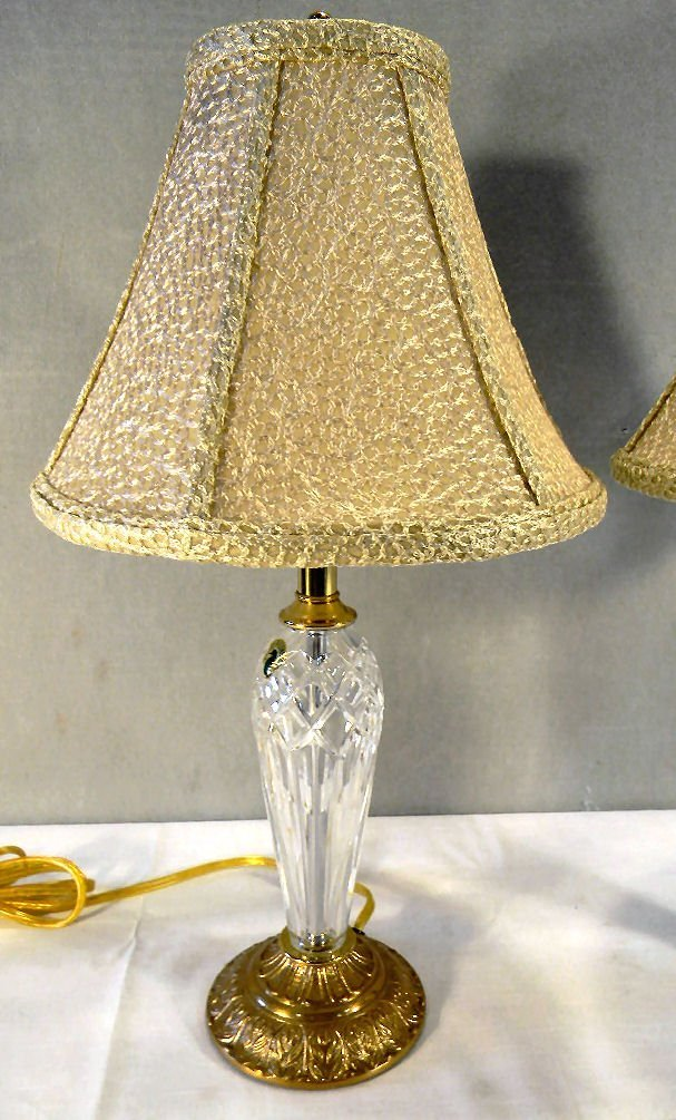 Pair of Waterford boudoir lamps, with Waterford shades, - 2