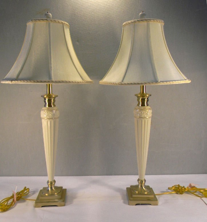 Pair of tall Lenox by Quoizel lamp with original shades