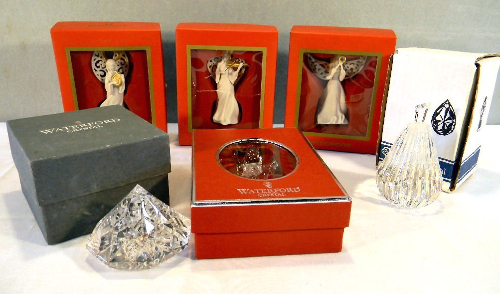 Lot including three Wedgwood and one Waterford Christma