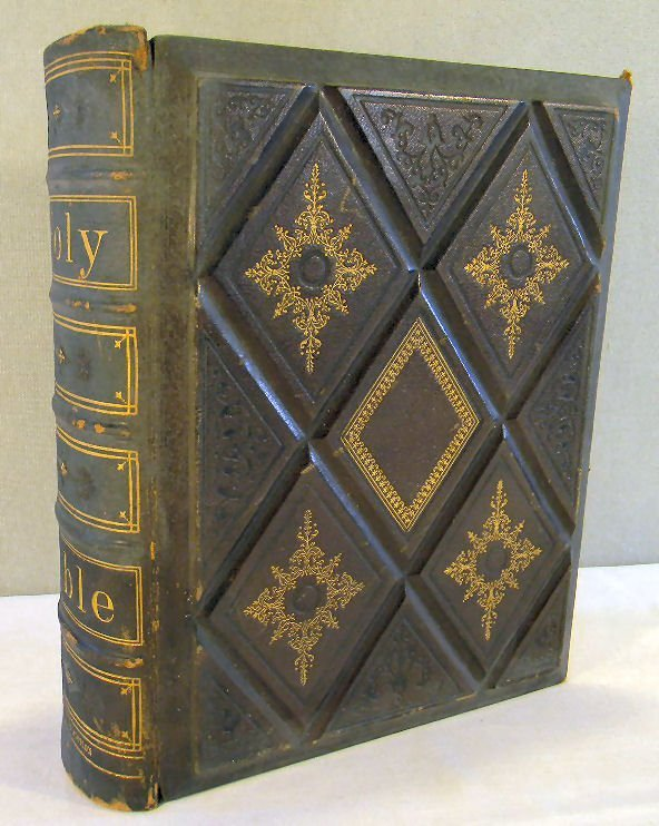 Harding's edition of the Holy Bible dated 1871, leather