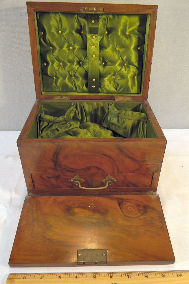"Antique burlwood jewelry box, 7.25"" high, 10.25"" X 7.5"""