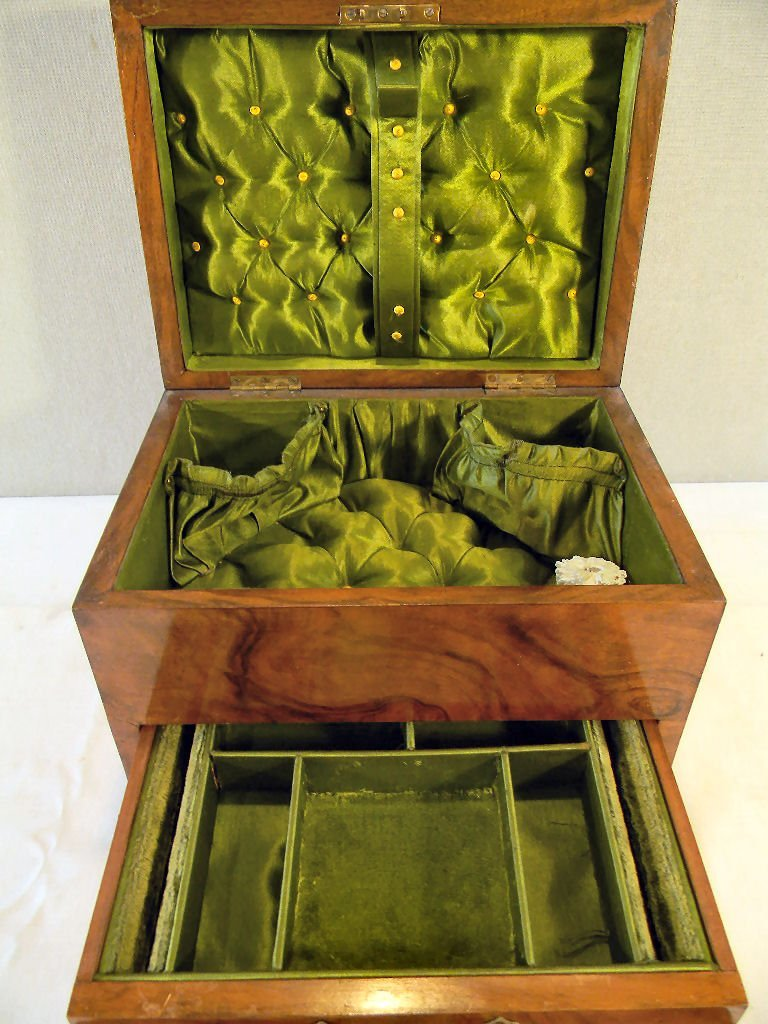 "Antique burlwood jewelry box, 7.25"" high, 10.25"" X 7.5"" - 2"