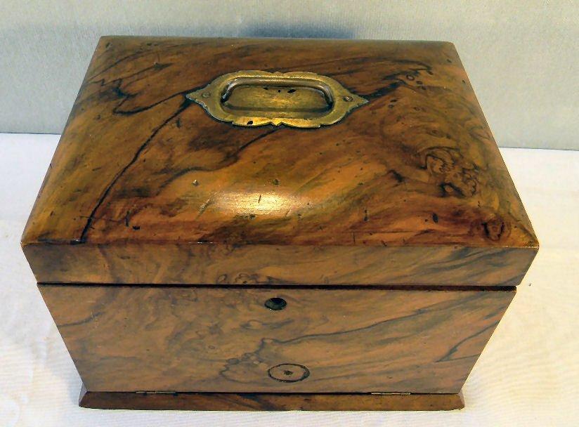 "Antique burlwood jewelry box, 7.25"" high, 10.25"" X 7.5"" - 3"