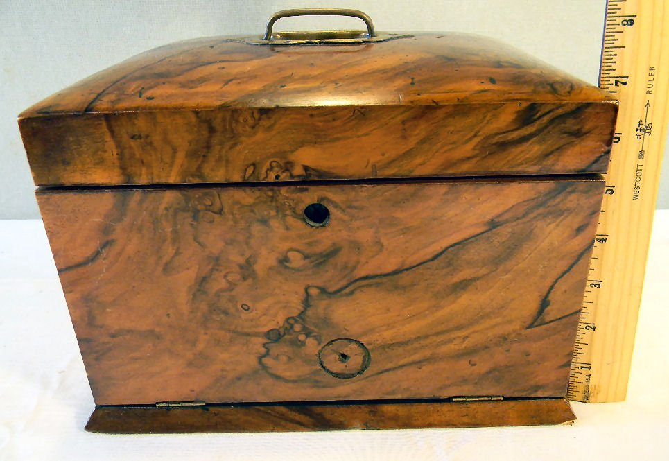 "Antique burlwood jewelry box, 7.25"" high, 10.25"" X 7.5"" - 4"