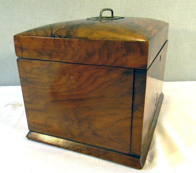 "Antique burlwood jewelry box, 7.25"" high, 10.25"" X 7.5"" - 5"