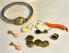 Lot of misc gold jewelry including Hamilton ladies wat