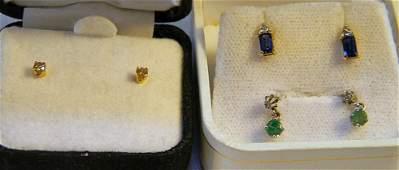 Three pairs of gold earrings including 14K diamond stud