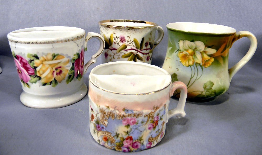 Lot of four (4) floral decorated shaving mugs, no chips