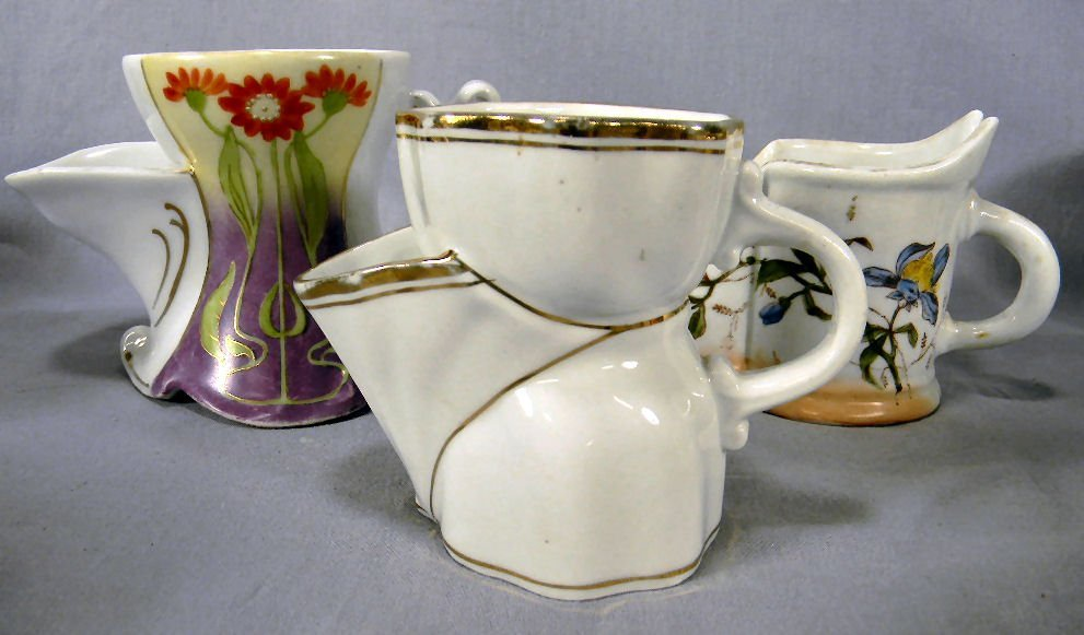Lot of three (3) scuttle type shaving mugs, no chips or