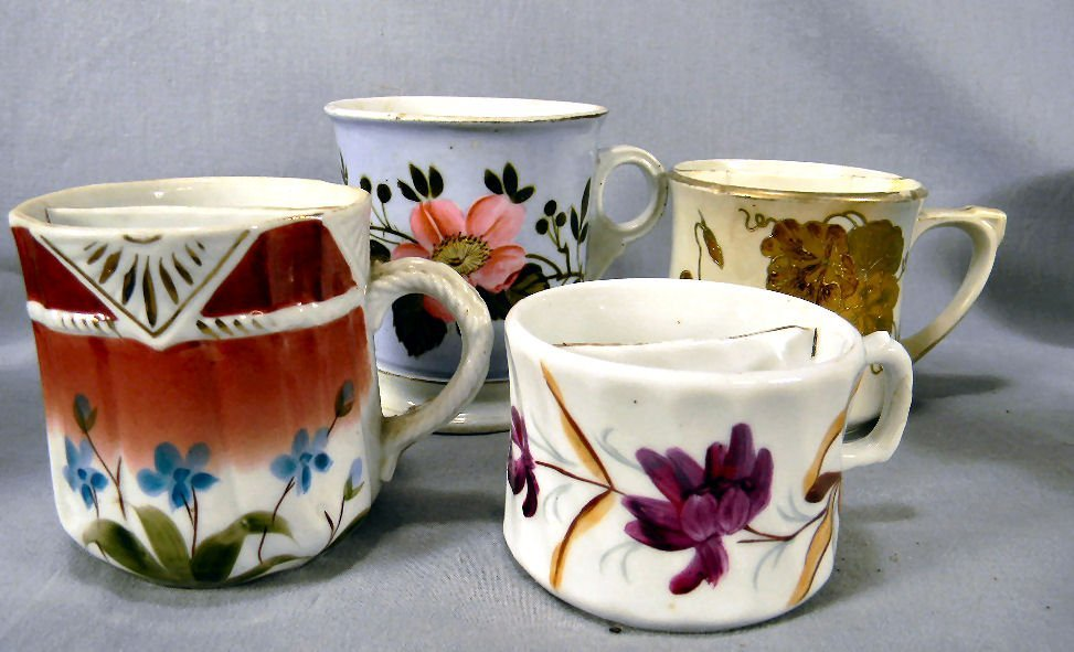 Lot of four (4) floral decorated shaving mugs/mustache