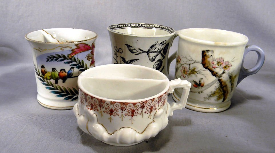 Lot of four (4) transfer decorated shaving mugs/mustach