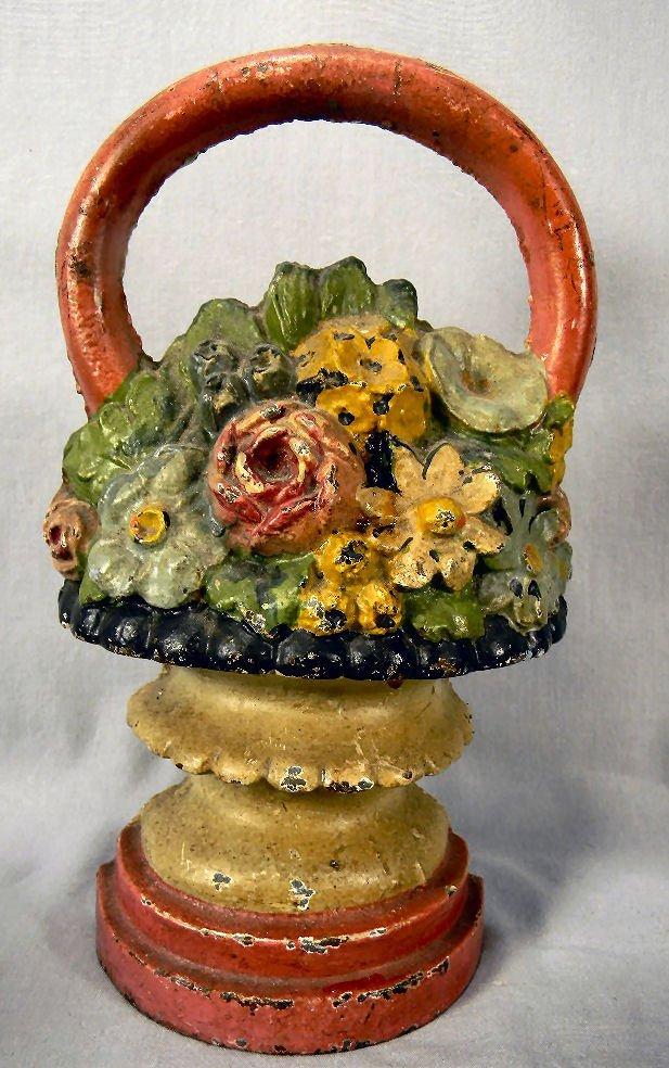 Cast iron flower basket door stop, 10 in. High, origina