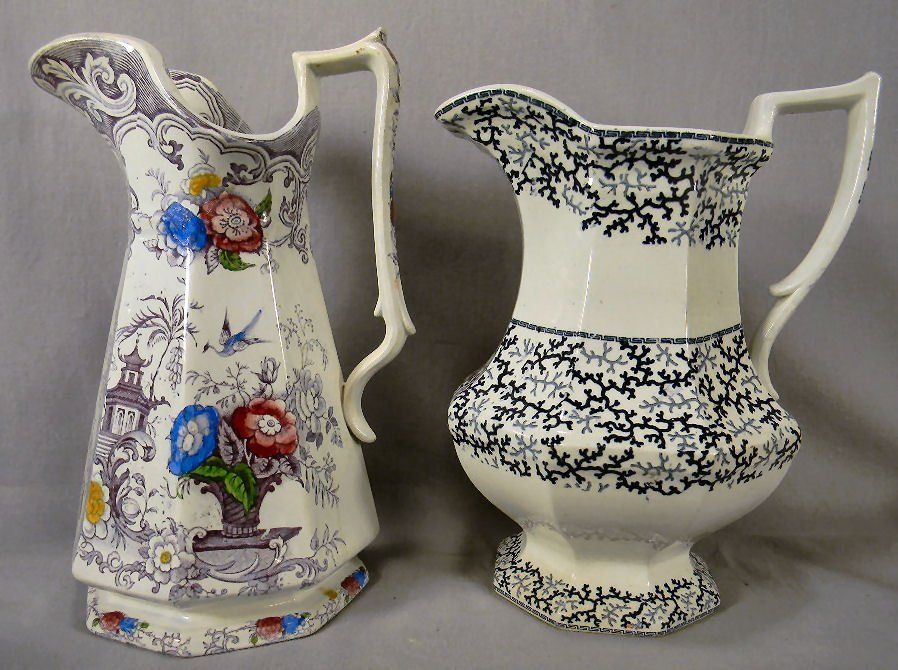 Two Staffordshire water pitchers, Florilla pitcher with