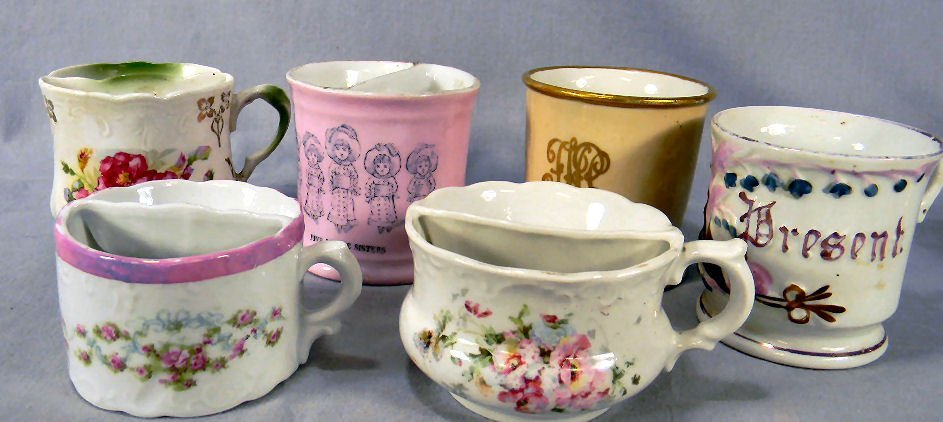 Lot of six (6) shaving/mustache cups, no chips or crack